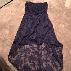 Navy rose lace high/low strapless dress; SMALL